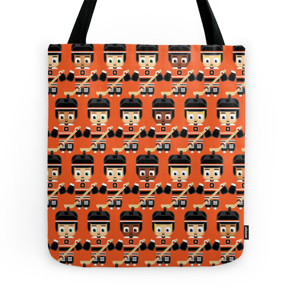Super Cute Sports Stars - Ice Hockey Orange Tote Purse by boxedspapercrafts (TBG7352535) photo