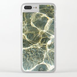 Golden Ripples Jade Sea Clear iPhone Case