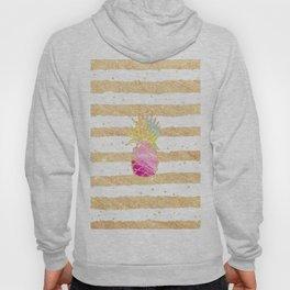 Modern pink watercolor pineapple faux gold glitter stripes Hoody