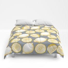 Lemons On Grey Background Comforters
