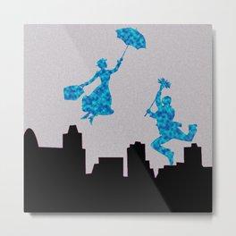 Mary Poppins glittsy Blue Metal Print