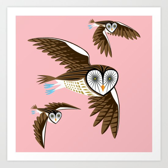 Owls On The Prowl Art Print