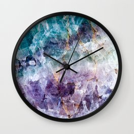 Turquoise & Purple Quartz Crystal Wall Clock