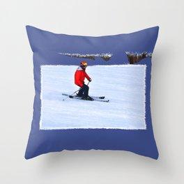Winter Run - Downhill Skier Throw Pillow
