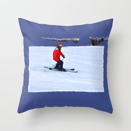 Winter Run - Downhill Skier Throw Pillow