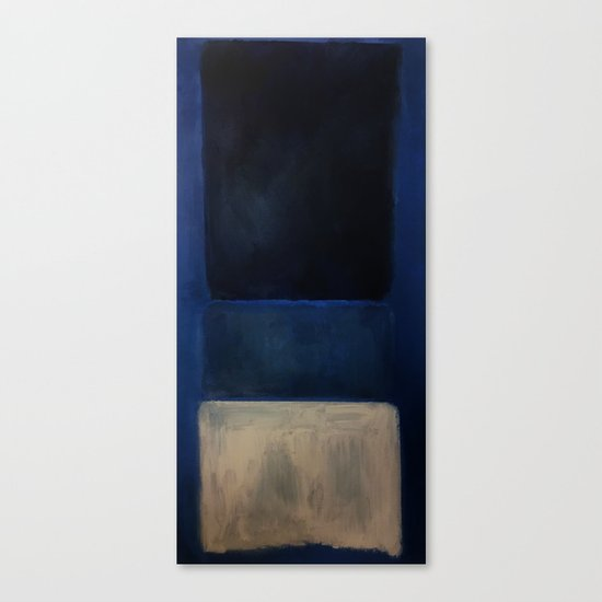 Mark Rothko Interpretation White And Greens In Blue Canvas Print