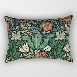 William Morris Compton Floral Art Nouveau Pattern Rectangular Pillow