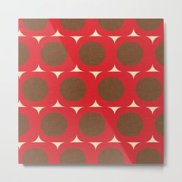 Dots and Triangles Red  #midcenturymodern Metal Print