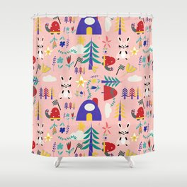 Tortoise and the Hare is one of Aesop Fables pink Shower Curtain