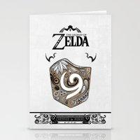 the legend of zelda Stationery Cards featuring Zelda legend - Kokiri shield by Art & Be