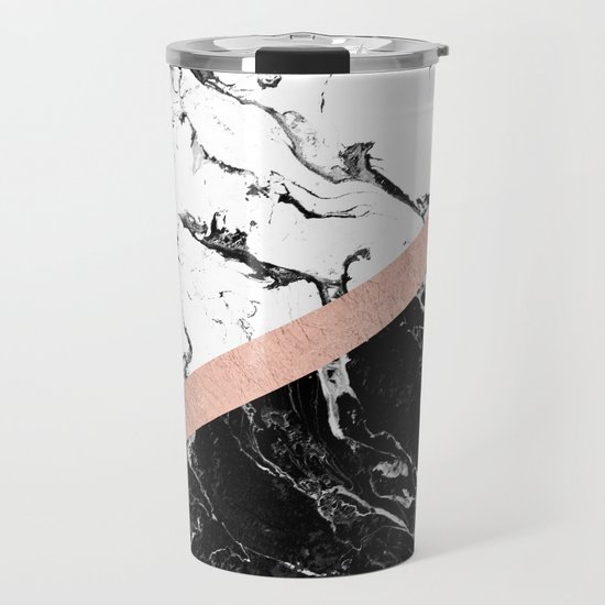 Modern black white marble color block rose gold by girlytrend