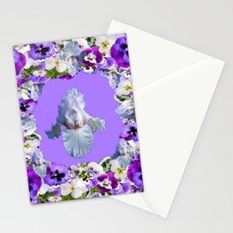 SPRING LILAC PURPLE PANSY FLOWERS & WHITE IRIS PATTERN Stationery Cards