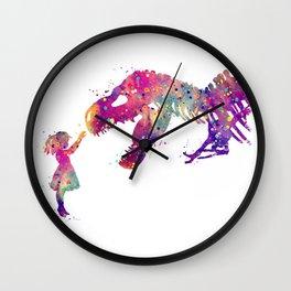 Girl and Dinosaur T-Rex Art Animals Nursery Decor Kids Room Watercolor Print Purple Home Decor Wall Clock