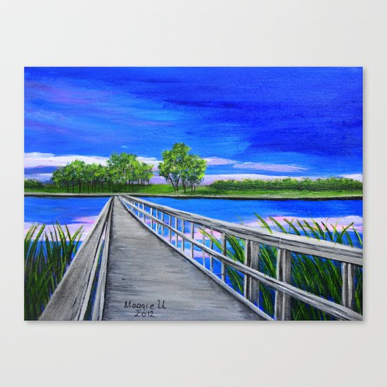 Walking bridge on the lake  Canvas Print