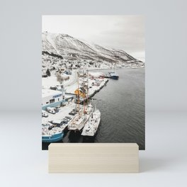 Harbor In Norway Snow Photo   Winter In Norway Boats And Mountains Art Print   Travel Photography Mini Art Print