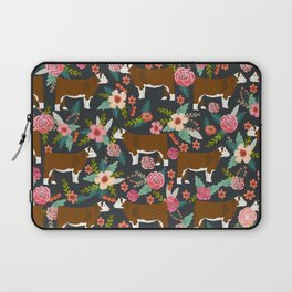 Hereford Cattle breed floral farm homestead gifts cow art florals Laptop Sleeve