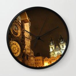 Prague at Night Wall Clock