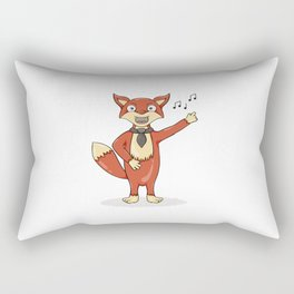 Red fox singing song with black tie. Rectangular Pillow