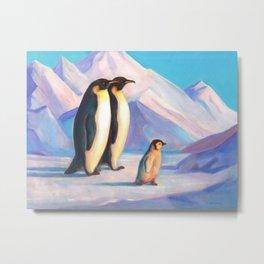 Happy Penguin Family Metal Print