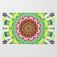 lime green Area & Throw Rugs featuring Lime Green Citrus Abstract by Phil Perkins