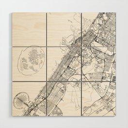 Dubai White Map Wood Wall Art