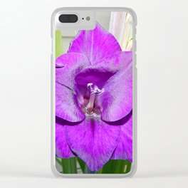 Purple Gladiola Clear iPhone Case