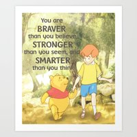 winnie the pooh Art Prints featuring WINNIE THE POOH by DisPrints