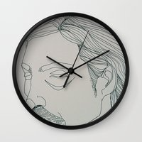 true detective Wall Clocks featuring RUST COHLE / TRUE DETECTIVE by ANNI JW