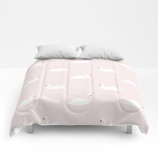 Swan pattern on pink 033 by bluelela