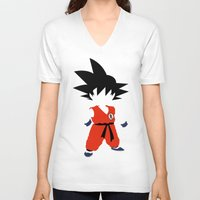 dragonball V-neck T-shirts featuring Goku by JHTY