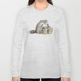 Raccoon on Bongos Long Sleeve T-shirt