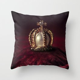 Golden Crown Throw Pillow