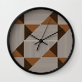 Coffee Brown Geometric Shapes Wall Clock