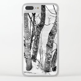 Black and White Trees Clear iPhone Case