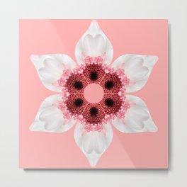 White and Pink Gerber Kaleidoscope Metal Print