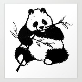 Chewing Panda Art Print