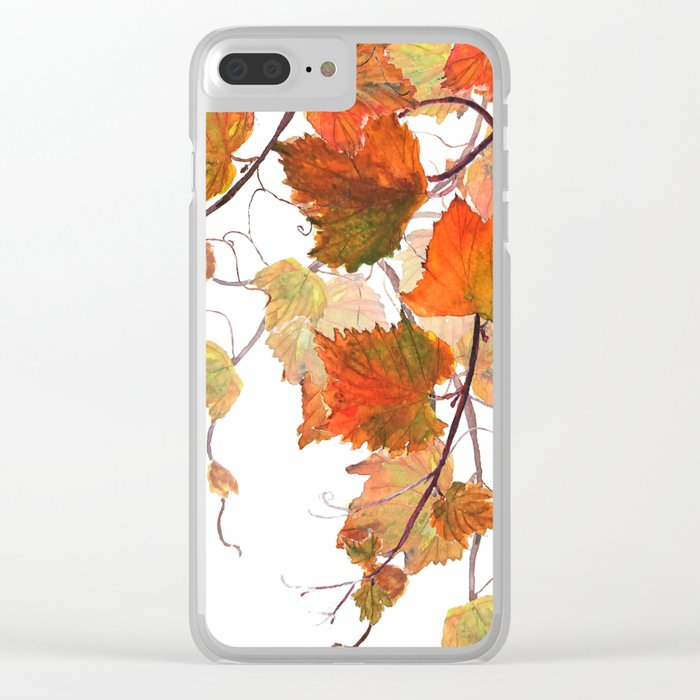 orange grapevine 2 Clear iPhone Case