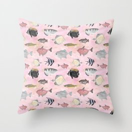 Fish Pattern - Coral Pink Waters Theme Throw Pillow