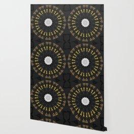 Dark Black Gold & White Marble Mandala Wallpaper