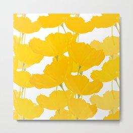 Yellow Mellow Poppies On A White Background #decor #society6 #buyart Metal Print