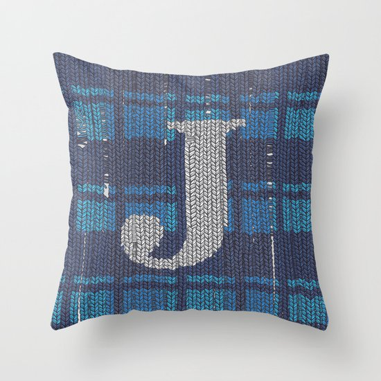 Winter clothes. Letter J. Throw Pillow