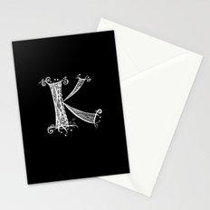 K White on Black Stationery Cards