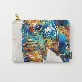 Colorful Elephant Art by Sharon Cummings Carry-All Pouch