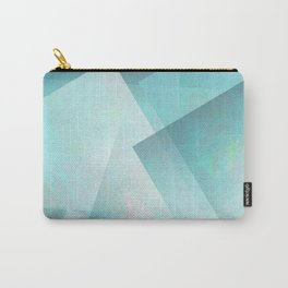 Aqua and Silver White - Digital Geometric Texture Carry-All Pouch