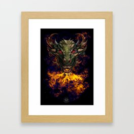 Digital dragon head Framed Art Print