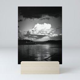 Cloudy Möhne Reservoir Lake bw Mini Art Print