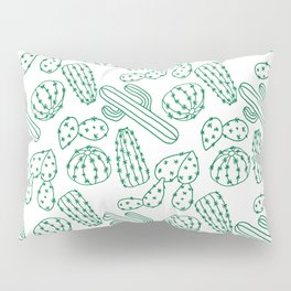 Turquoise cactus line drawing seamless pattern Pillow Sham