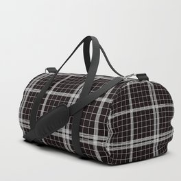 Back to Schoo l- Simple Handdrawn Grid Pattern - Black & White - Mix & Match with Simplicity of Life Duffle Bag