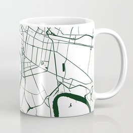 Bangkok Thailand Minimal Street Map - Forest Green and White Coffee Mug