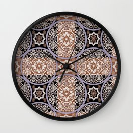 Brown lace ornament. Wall Clock